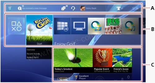 Sony PlayStation4 : Menu d'accueil