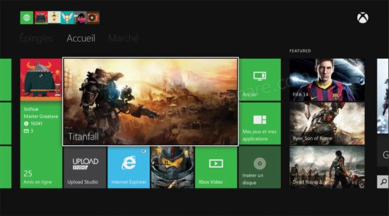 Microsoft Xbox One : Ecran d'accueil