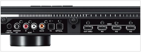 Photo de la connectique d'une barre de son