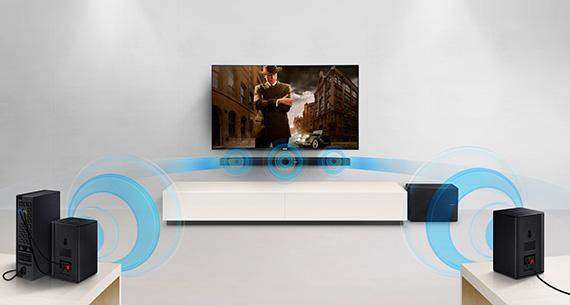 Illustration d'une barre de son délivrant un son surround - crédit : Samsung